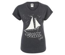 T-Shirt mit Frontprint navy / weiß