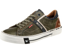 Sneaker Low dunkelgrün / braun