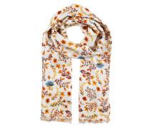 Schal mit Blumenmuster orange / weiß