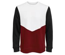 Sweatshirt weinrot / schwarz / weiß