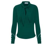 Bluse 'bow TIE Blouse LS' grün / weiß