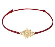 Armband 'Edelweiss' gold / dunkelrot