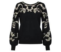 Pullover 'brocade' beigemeliert / schwarz