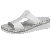 Pantolette silbergrau / weiß