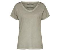 T-Shirt mit offenem Ausschnitt greige