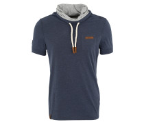 T-Shirt 'Fat Tony' dunkelblau / grau