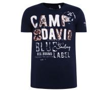 T-Shirt dunkelblau / orange / weiß