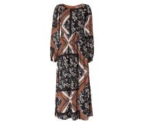 Kleid karamell / schwarz / naturweiß