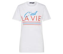 T-Shirt 'C'est La Vie Slogan' weiß