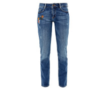 Shape Slim: Jeans mit Blumen-Stickerei