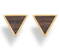 Ohrstecker 'Triangle' braunmeliert / gold
