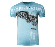 T-Shirt mit 'Flying Skull' Front Print