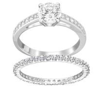 Ring-Set 'I do' silber / weiß
