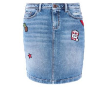 Denimrock mit Patches blue denim