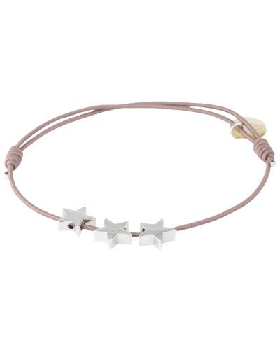 Armband '3 Stars' taupe / silber