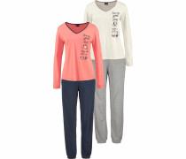 Pyjamas navy / grau / lachs / weiß