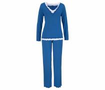 Pyjama in hochwertiger Layeroptik blau