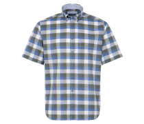 Kurzarm Hemd 'comfort Fit' blau / grün