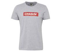 T-Shirt 'box' graumeliert / rot