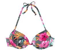 Push-Up-Bikini-Top gelb / grau / pink