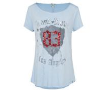 Shirt hellblau / grau / merlot