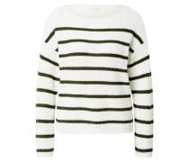Pullover 'rush' dunkelgrün / weiß