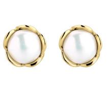 Ohrringe gold / perlweiß