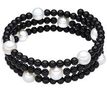 Onyx-Armband mit Süßwasser-Zuchtperlen