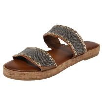 Sandalen mit Glitzersteinbesatz braun