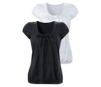 Shirts (2 Stück) mit gerafftem Ausschnitt