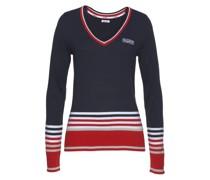 Pullover marine / greige / rot / weiß