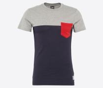 T-Shirt 'Block Pocket 2 Tee' blau / rot
