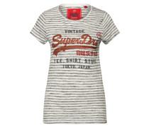 T-Shirt grau / rostrot / weiß