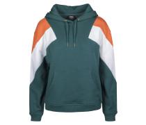 Hoody dunkelgrün / orange / weiß