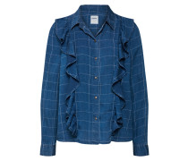 Hemdbluse 'onlIZZY L/S Check Frill Shirt Dnm'