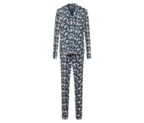 Pyjama taubenblau / altrosa