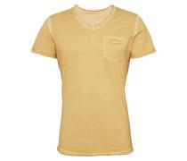 T-Shirt 'Soda' mit V-Ausschnitt gelb