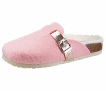 Pantoffel braun / rosa / weiß