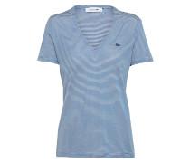 T-Shirt mit V-Ausschnitt creme / blau