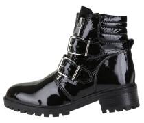 Lack-Boots mit Schnallen schwarz