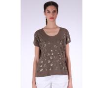 T-Shirt 'Flex Treill' braunmeliert / gold