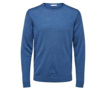 Strickpullover Merinowolle blau