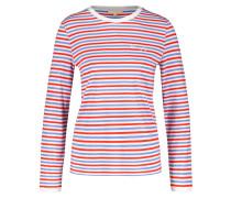 Shirt hellblau / orangerot / weiß