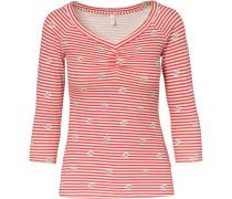 Langarmshirt beige / rot