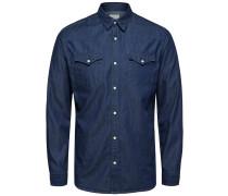 Langarmhemd dunkelblau