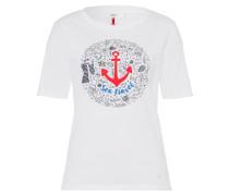 T-Shirt 'Cora' blau / rot / schwarz / weiß
