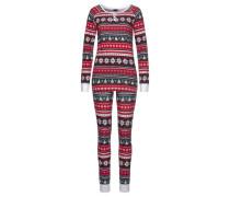 Pyjama dunkelgrün / rot / weiß