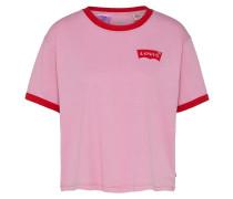 T-Shirt 'graphic Ringer J.v' pink / rot