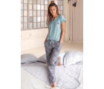 Pyjama 'Dreams' hellblau / grau