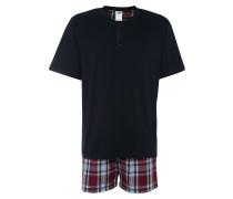 Pyjama navy / bordeaux / weiß
